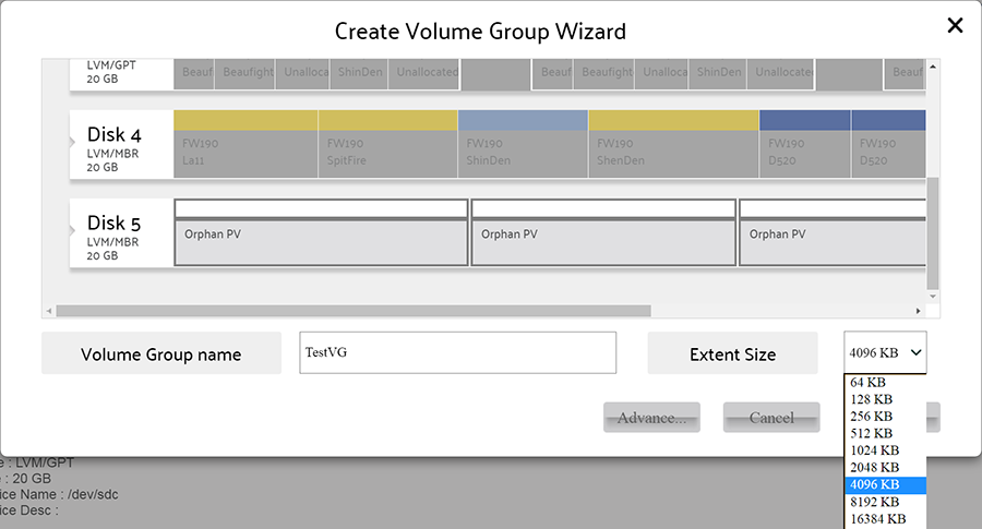 Create Volume Group wizard