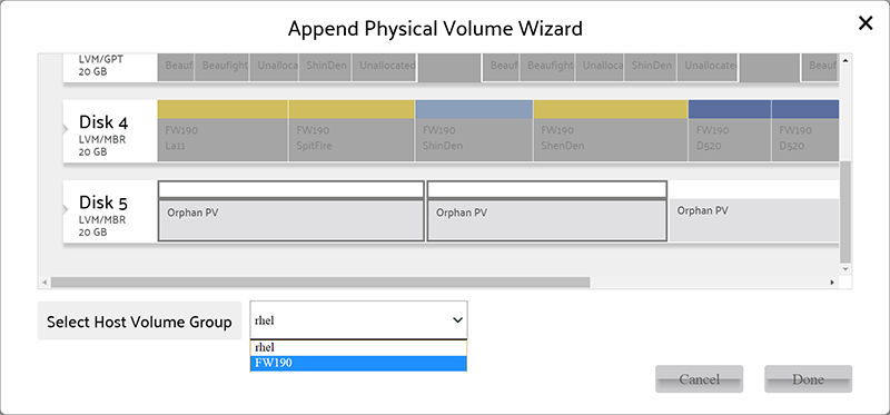 Extend Volume Group wizard