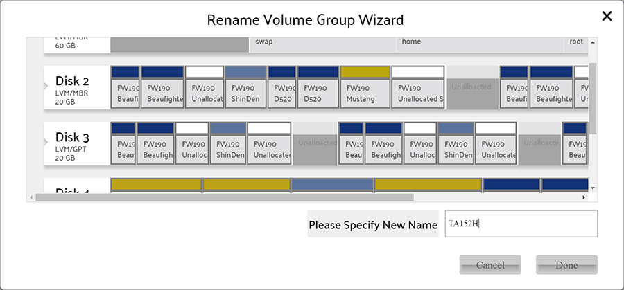 Rename Volume Group wizard
