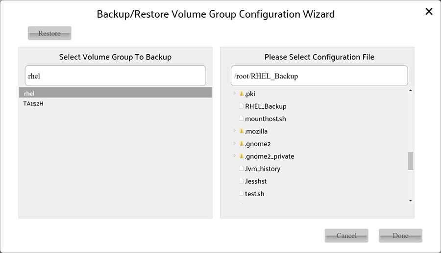 Restore Volume Group wizard