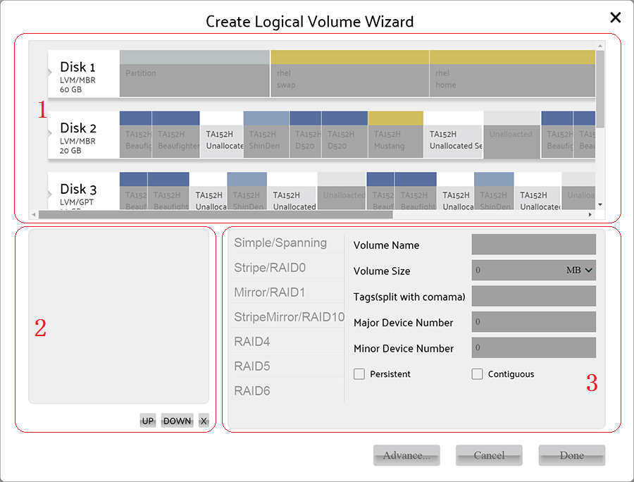 Creating Logical Volume wizard