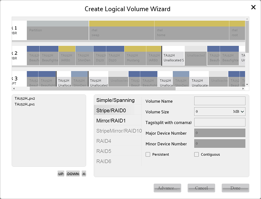 select at least 2 Physical Volumes for create stripe volume