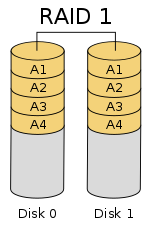 The disk 0 and disk 1 are copies of each other.