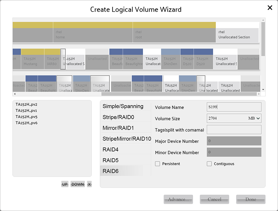 select at least 5 Physical Volumes for create raid 6 volume