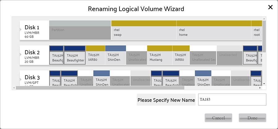 Rename Logical Volume wizard
